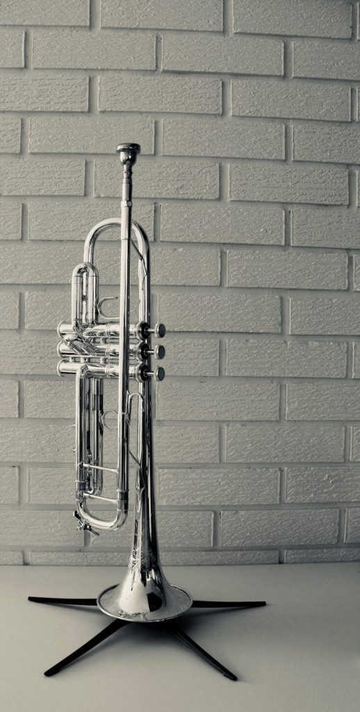 trumpet in front of brick wall for article about the best trumpet jokes