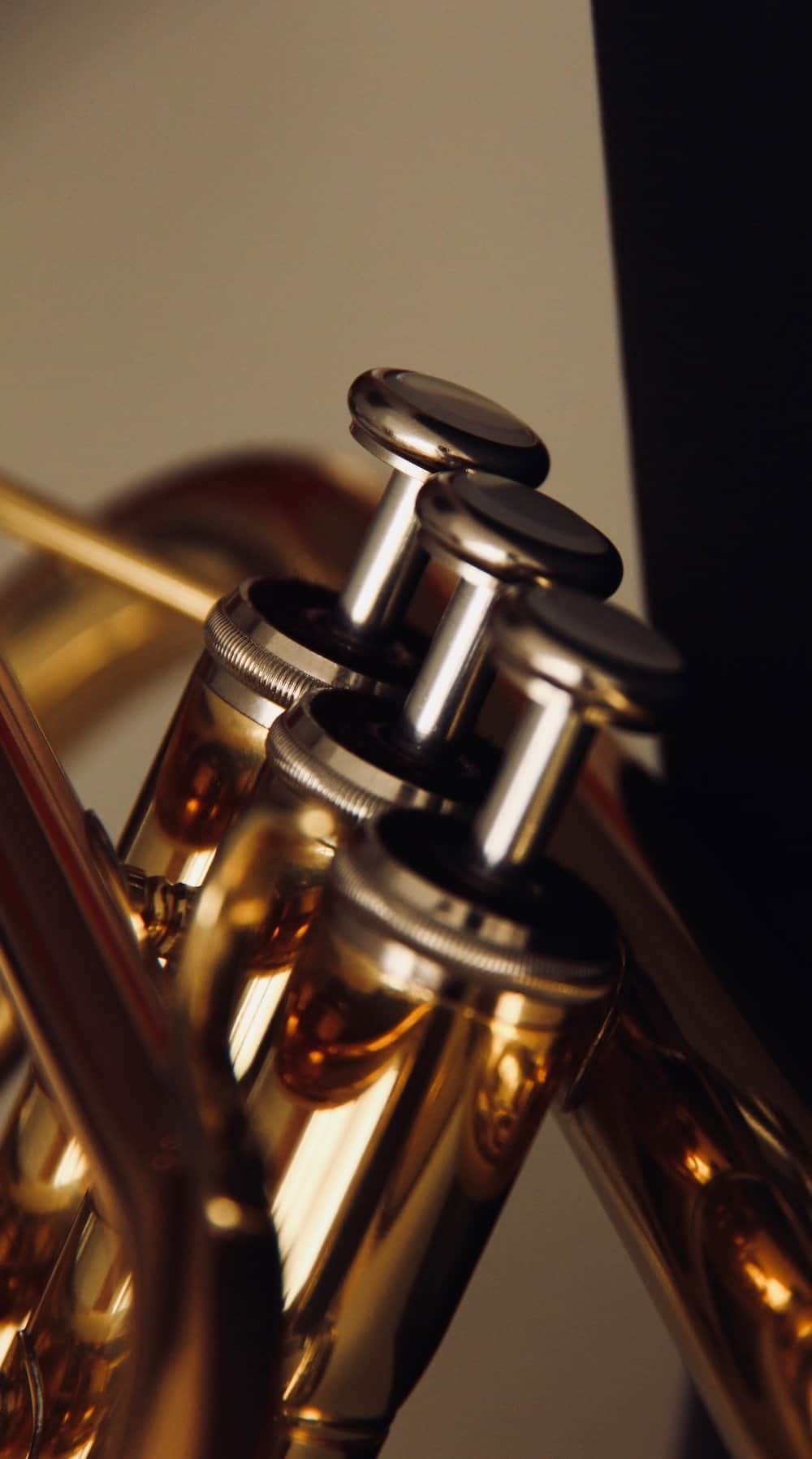 learning trumpet - close up of trumpet valves for tutorial about how to play the trumpet