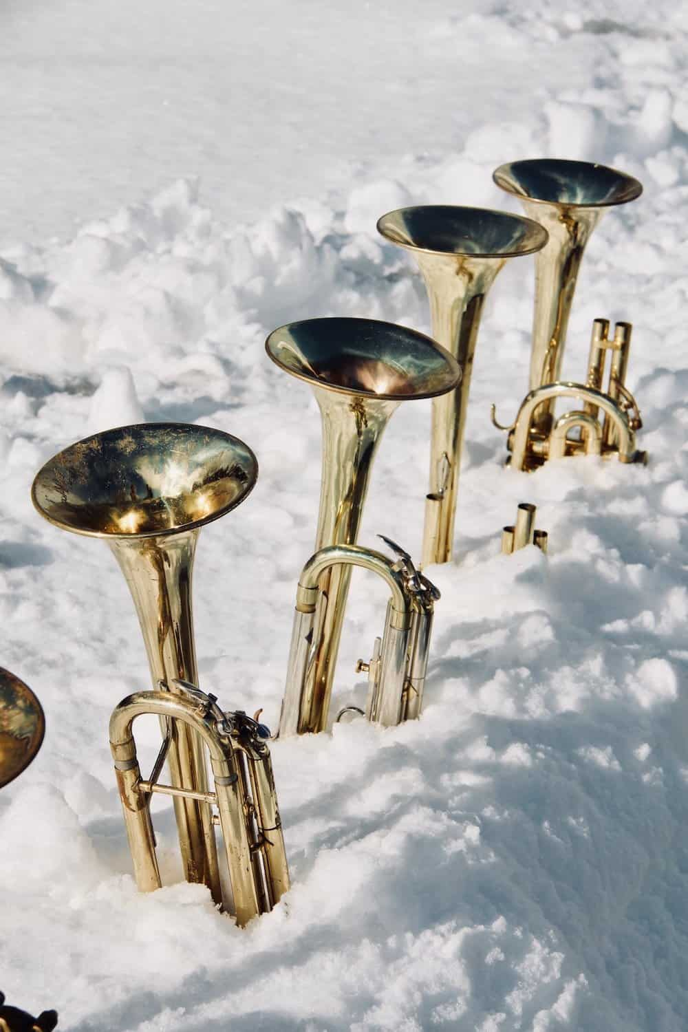 trumpet transposition - different keys of trumpets - trumpet bells in the snow
