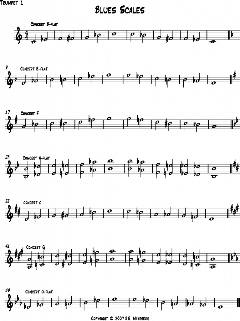 Blues scales for Bb Trumpet