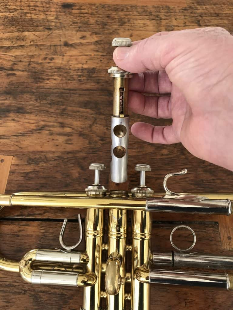 Trumpet Valve - How Trumpet Valves Work - Shown Pulled Out of Trumpet